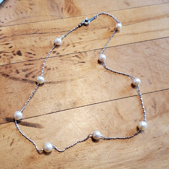 """15"""" Choker Silver Tone Faux Pearl Bead Necklace"""